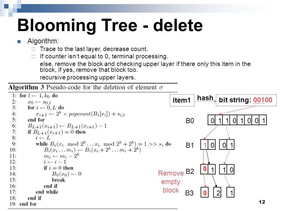 12 Blooming Tree - delete Algorithm:  Trace to the last layer, decrease count.