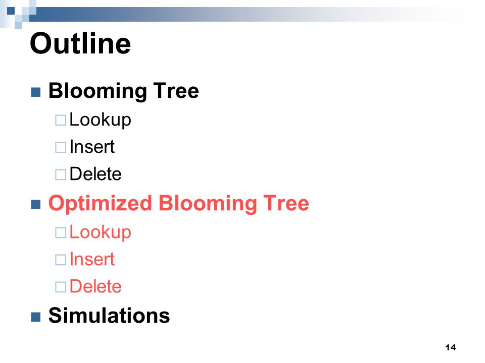 14 Outline Blooming Tree  Lookup  Insert  Delete Optimized Blooming Tree  Lookup  Insert  Delete Simulations