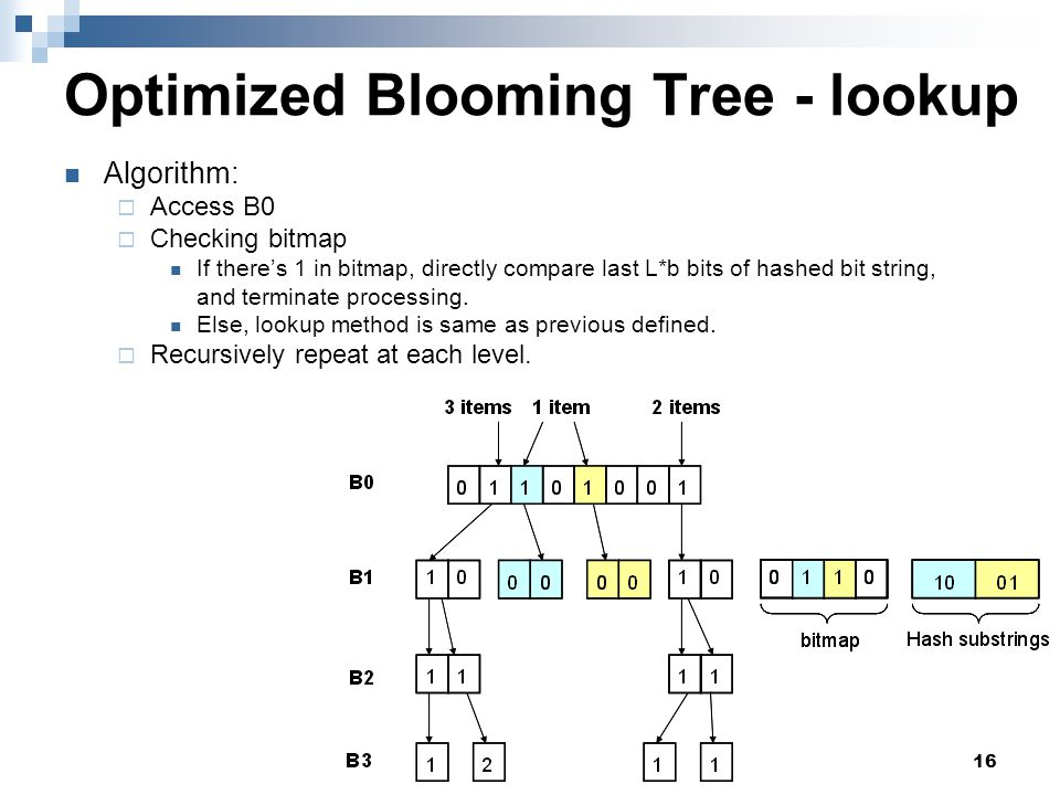 16 Optimized Blooming Tree - lookup Algorithm:  Access B0  Checking bitmap If there's 1 in bitmap, directly compare last L*b bits of hashed bit string, and terminate processing.