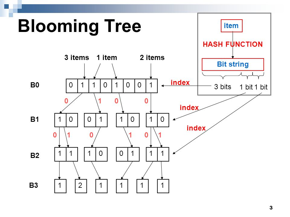 4 Blooming Tree n items, k0 hash functions, L+2 layers  Layer0 (B0) : m = nk0/ln2 bits  Layer1~L (B1~BL) : bits/block ( b=1 in following examples ) Block numbers is modified  LayerL+1 (BL+1) : Composed c-bits counters Hash function  k0 hash functions  log m + L*b bits output log m bit for layer0 B bits for layer1~layerL+1