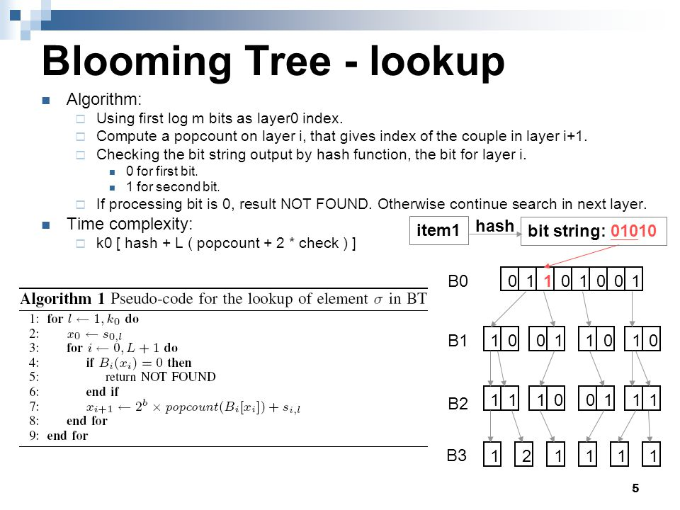 6 Blooming Tree - lookup Algorithm:  Using first log m bits as layer0 index.