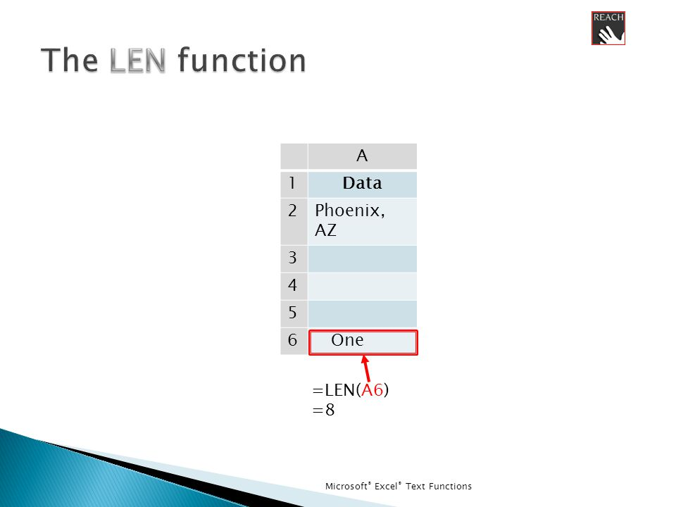 Microsoft ® Excel ® Text Functions A 1Data 2Phoenix, AZ 3 4 5 6 One =LEN(A6) =8