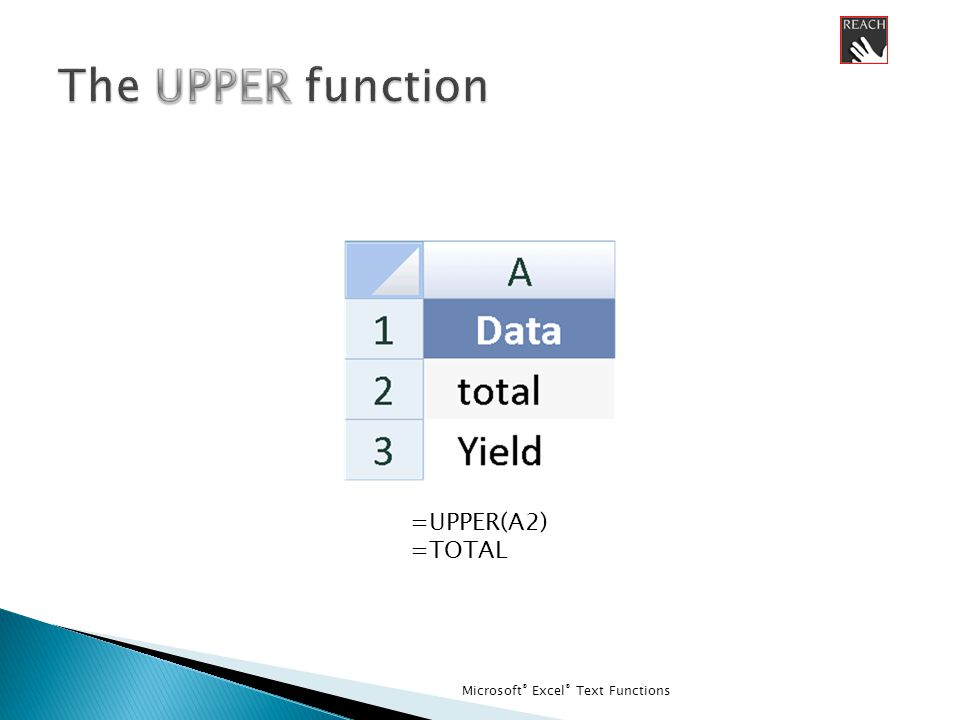 Microsoft ® Excel ® Text Functions =UPPER(A2) =TOTAL