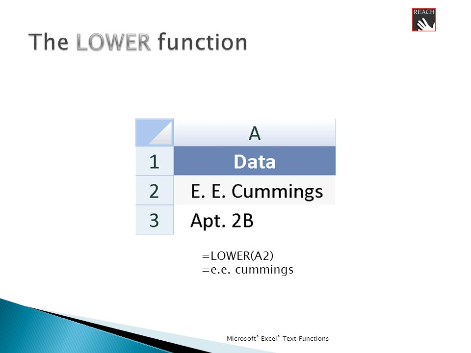 Microsoft ® Excel ® Text Functions =LOWER(A2) =e.e. cummings