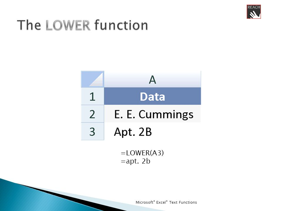 Microsoft ® Excel ® Text Functions =LOWER(A3) =apt. 2b