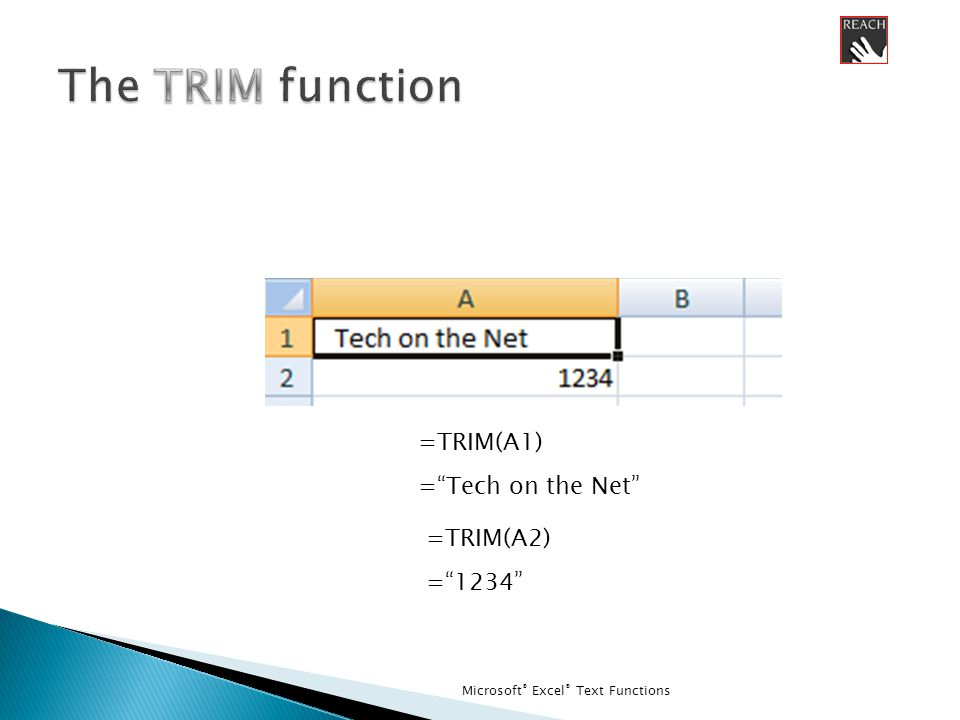 Microsoft ® Excel ® Text Functions =TRIM(A1) = Tech on the Net =TRIM(A2) = 1234