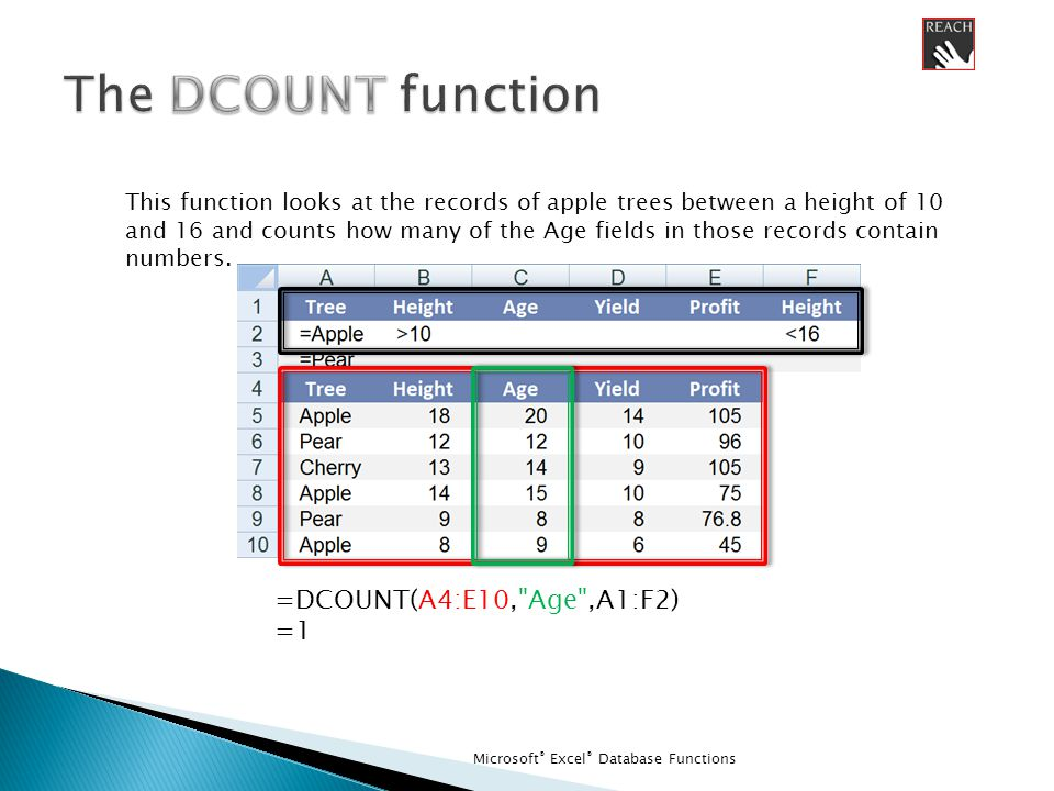 Microsoft ® Excel ® Database Functions =DCOUNT(A4:E10, Age ,A1:F2) =1 This function looks at the records of apple trees between a height of 10 and 16 and counts how many of the Age fields in those records contain numbers.