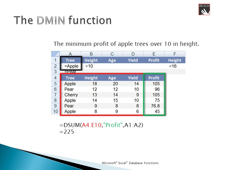 Microsoft ® Excel ® Database Functions =DSUM(A4:E10, Profit ,A1:A2) =225 The minimum profit of apple trees over 10 in height.