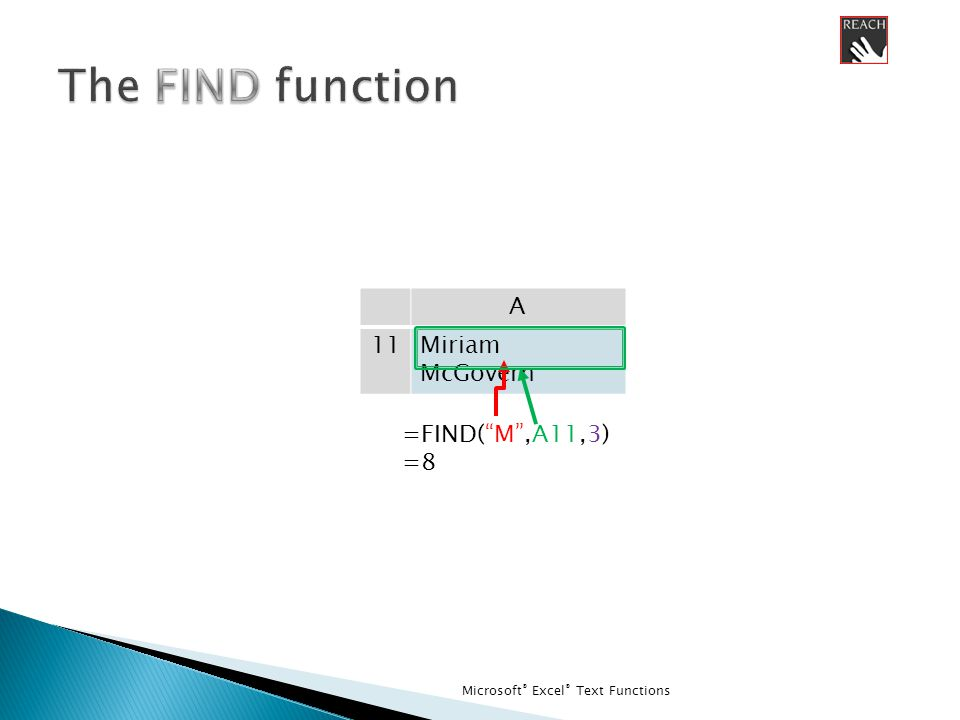 Microsoft ® Excel ® Text Functions A 11Miriam McGovern =FIND( M ,A11,3) =8