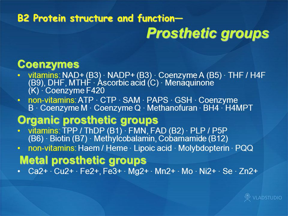 B2 Protein structure and function— Prosthetic groups Coenzymes vitamins: NAD+ (B3) · NADP+ (B3) · Coenzyme A (B5) · THF / H4F (B9), DHF, MTHF · Ascorb