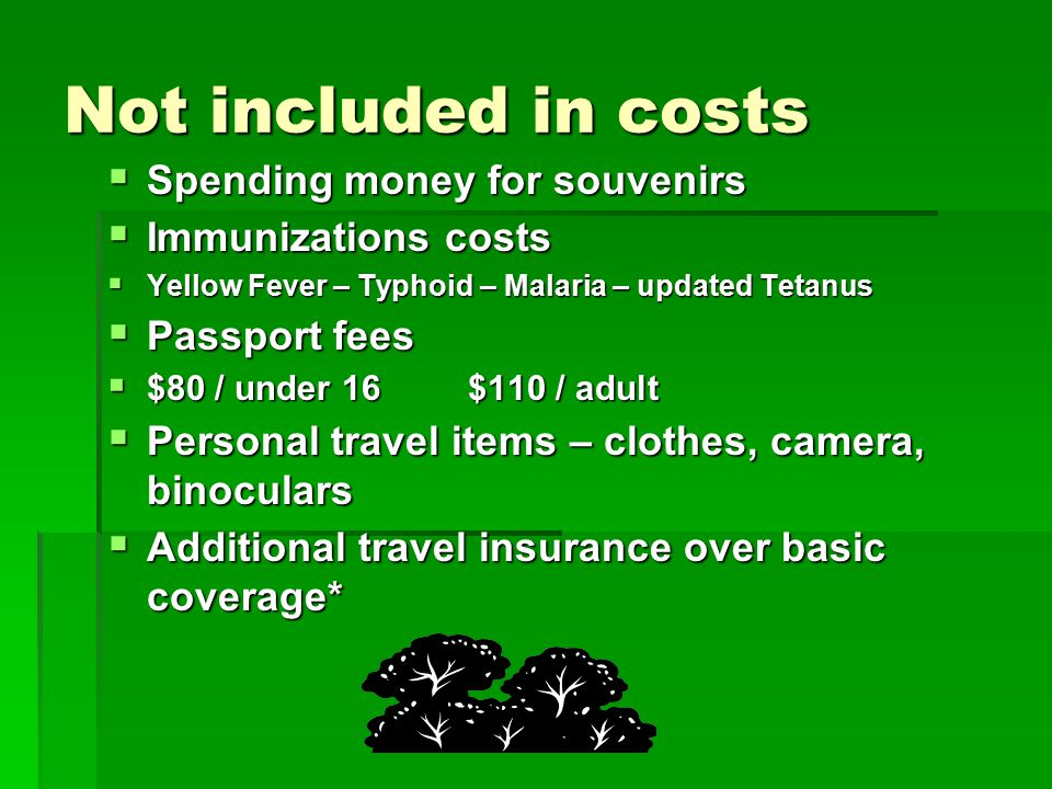 Not included in costs  Spending money for souvenirs  Immunizations costs  Yellow Fever – Typhoid – Malaria – updated Tetanus  Passport fees  $80 / under 16 $110 / adult  Personal travel items – clothes, camera, binoculars  Additional travel insurance over basic coverage*