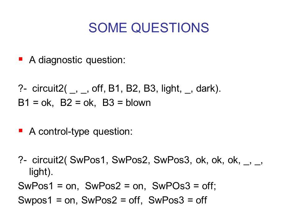 SOME QUESTIONS  A diagnostic question: - circuit2( _, _, off, B1, B2, B3, light, _, dark).