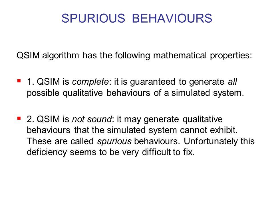 SPURIOUS BEHAVIOURS QSIM algorithm has the following mathematical properties:  1.