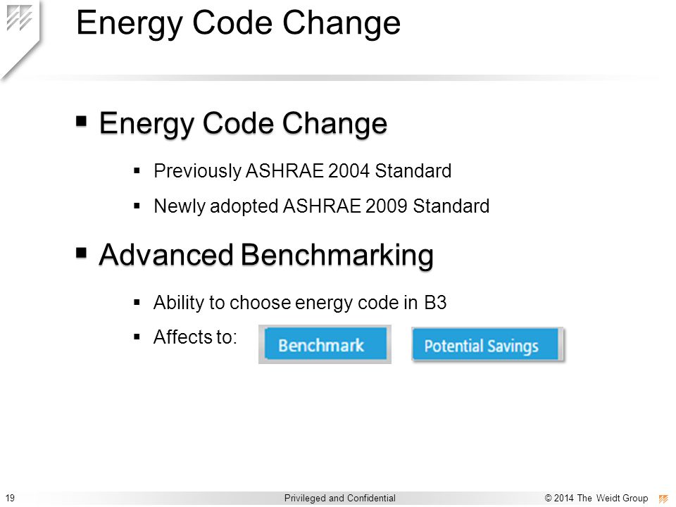 19 Privileged and Confidential © 2014 The Weidt Group Privileged and Confidential / © 2014 The Weidt Group Energy Code Change  Energy Code Change  P
