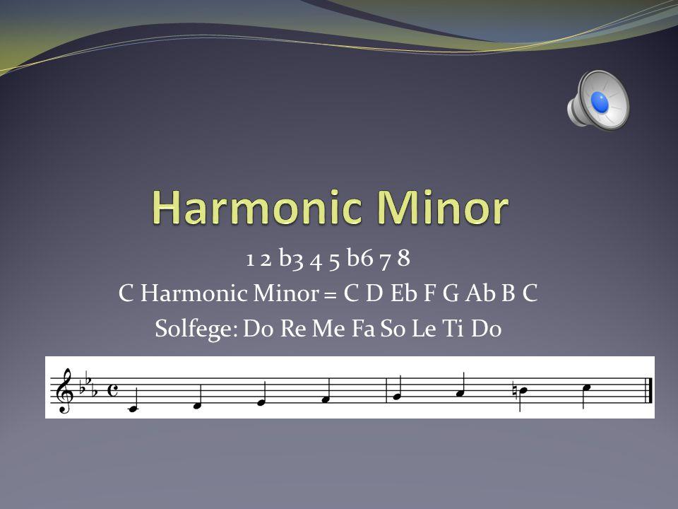 Diatonic Chords in Harmonic Minor Imin(maj7)C min(Major 7) 1 b3 5 7 IIm7b5D min7b51 b3 b5 b7 bIIImaj7#5Eb Major7#5 1 3#5 7 IVmin7F min71 b3 5 b7 V7G71 3 5 b7 bVImaj7Ab maj7 135 7 VIIdim7B dim71 b3 b5 bb7