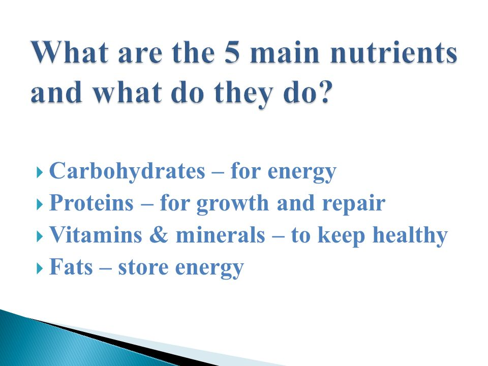  Carbohydrates – for energy  Proteins – for growth and repair  Vitamins & minerals – to keep healthy  Fats – store energy
