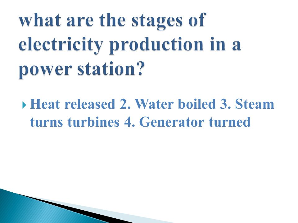  Heat released 2. Water boiled 3. Steam turns turbines 4. Generator turned