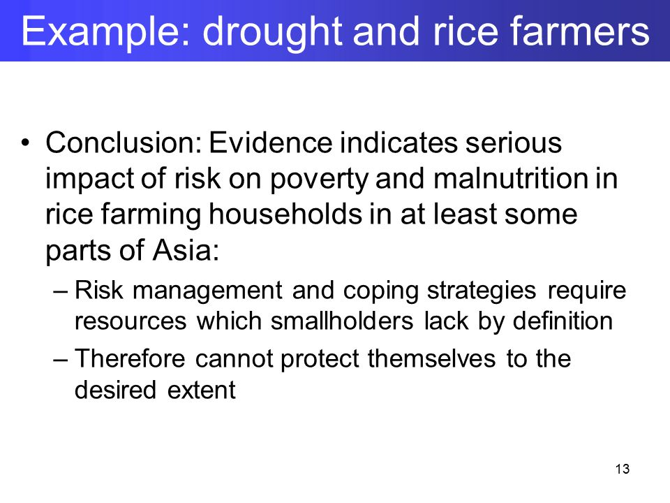 Conclusion: Evidence indicates serious impact of risk on poverty and malnutrition in rice farming households in at least some parts of Asia: –Risk management and coping strategies require resources which smallholders lack by definition –Therefore cannot protect themselves to the desired extent Example: drought and rice farmers 13