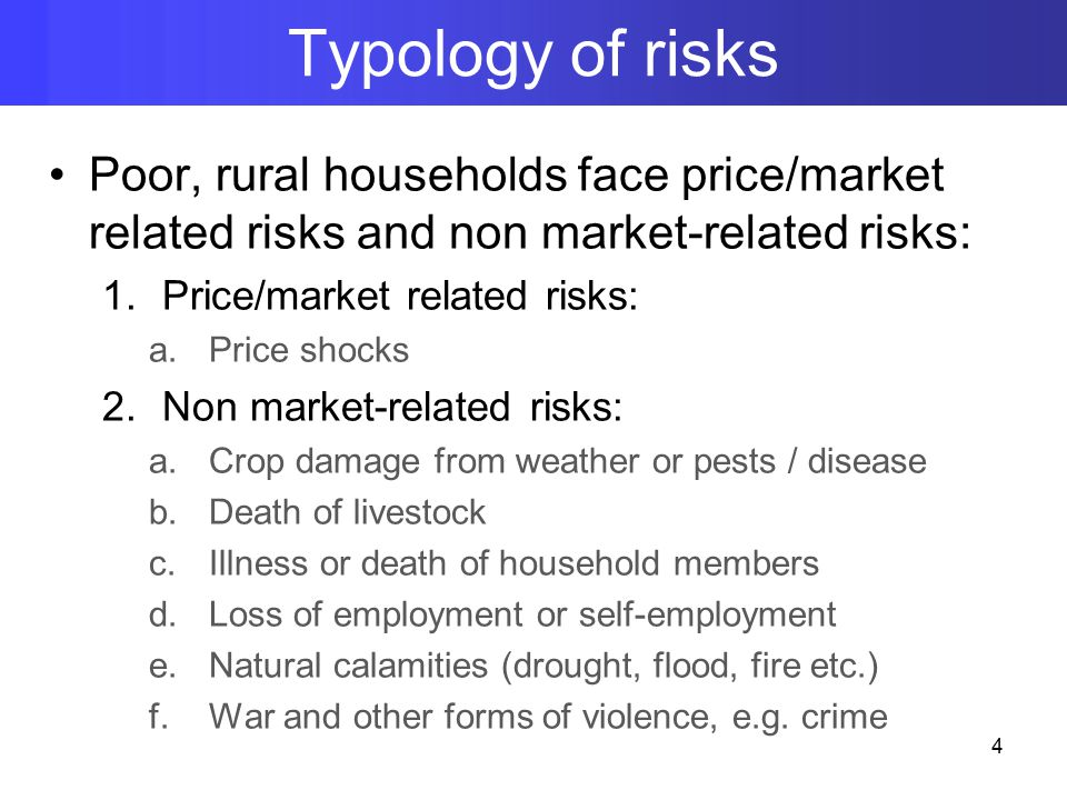 Poor, rural households face price/market related risks and non market-related risks: 1.Price/market related risks: a.Price shocks 2.Non market-related risks: a.Crop damage from weather or pests / disease b.Death of livestock c.Illness or death of household members d.Loss of employment or self-employment e.Natural calamities (drought, flood, fire etc.) f.War and other forms of violence, e.g.