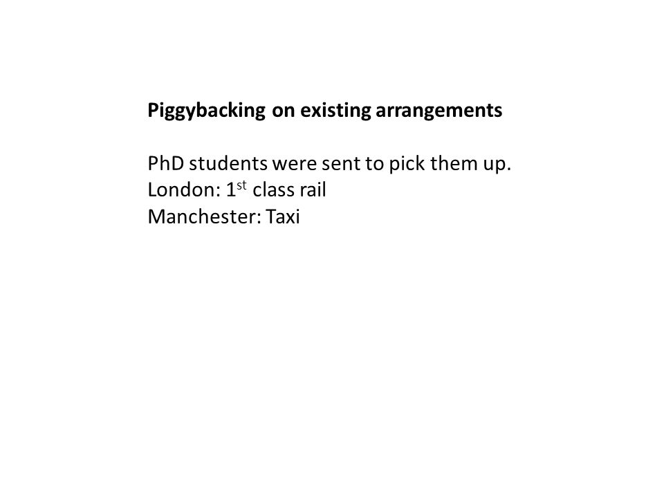 Piggybacking on existing arrangements PhD students were sent to pick them up.