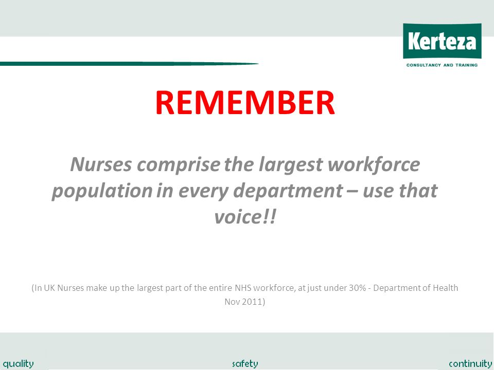 REMEMBER Nurses comprise the largest workforce population in every department – use that voice!.