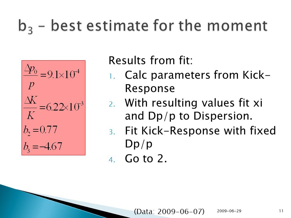 Results from fit: 1. Calc parameters from Kick- Response 2.