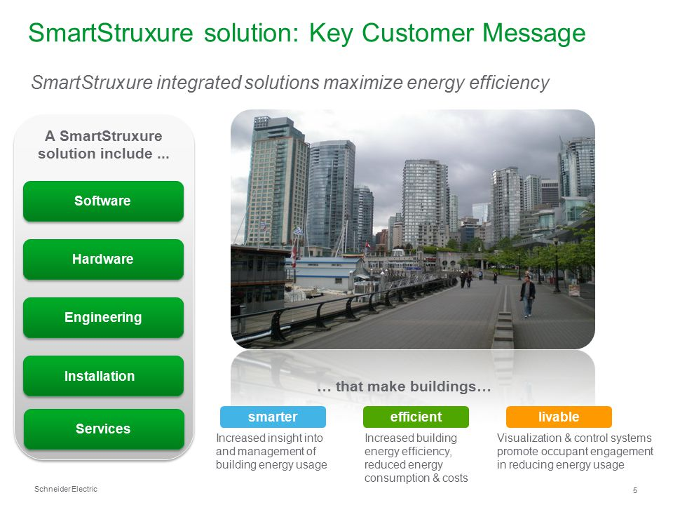 Schneider Electric – StruxureWare Building Operation: Web Services 16 Web Services - Generic Consume ●General web services implementation to consume data into StruxureWare Building Operation ●Ideal when integrating to third party systems ●Simple XML, Script, Soap ●Use case examples: ●Use data from a weather service to automatically adjust heating /cooling programs and blind control to save energy ●Use data regarding fluctuating utility costs to load balance energy usage to save money