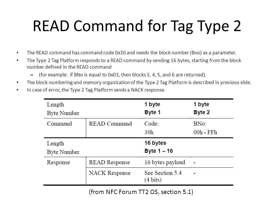 NDEF Formatting and Reading out NDEF data from the NFC Forum Type 2 Tag Platform Next step in the process, now that the tag is selected and known to be unformatted, is to NDEF format the tag by writing to block 3 with the Capability Container information.