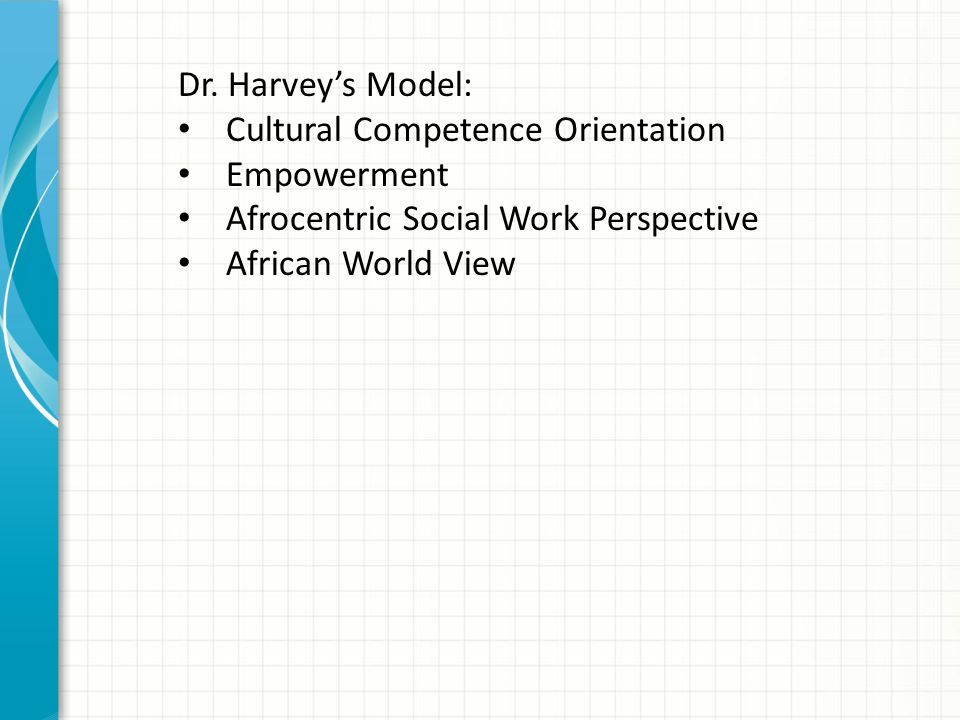 Dr. Harvey's Model: Cultural Competence Orientation Empowerment Afrocentric Social Work Perspective African World View