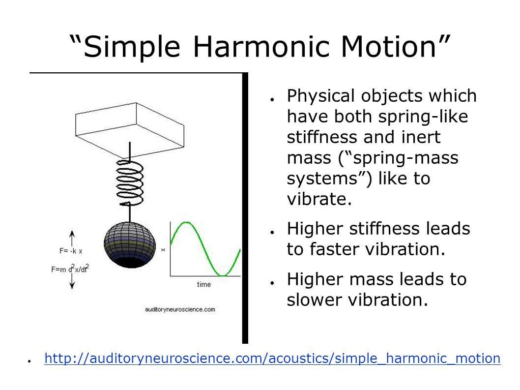 ● Physical objects which have both spring-like stiffness and inert mass ( spring-mass systems ) like to vibrate.