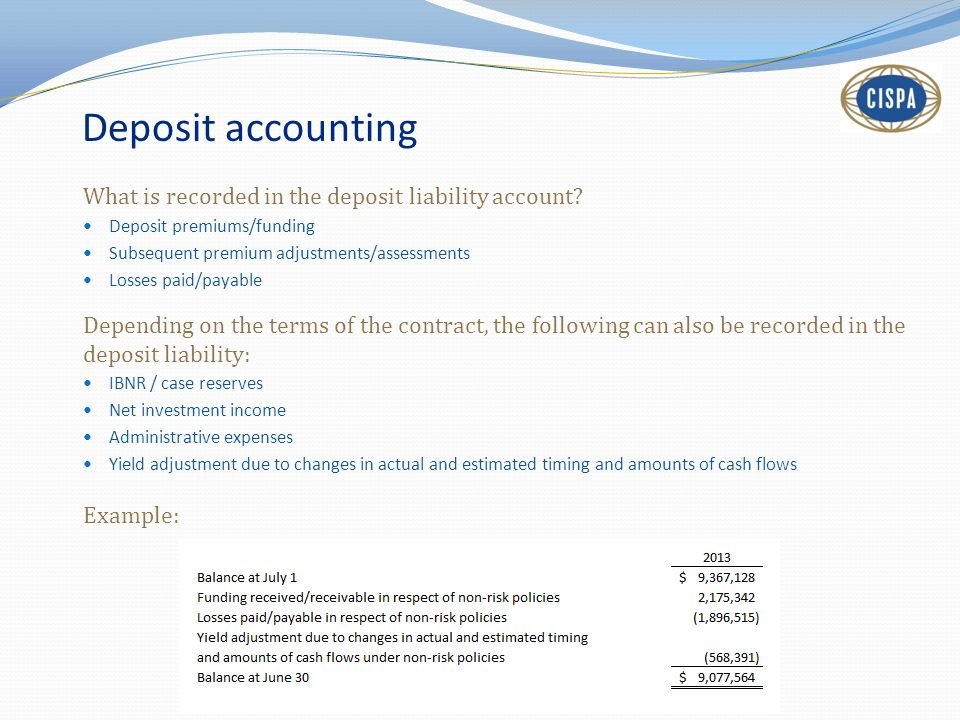Deposit accounting What is recorded in the deposit liability account.