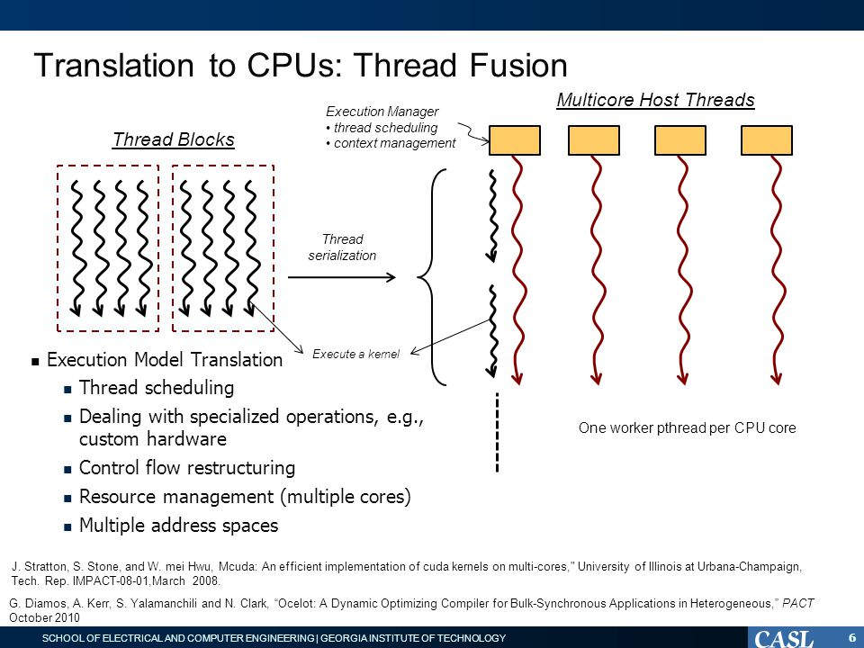 SCHOOL OF ELECTRICAL AND COMPUTER ENGINEERING | GEORGIA INSTITUTE OF TECHNOLOGY Translation to CPUs: Thread Fusion Execution Manager thread scheduling context management Thread Blocks Multicore Host Threads Thread serialization Execution Model Translation Thread scheduling Dealing with specialized operations, e.g., custom hardware Control flow restructuring Resource management (multiple cores) Multiple address spaces One worker pthread per CPU core Execute a kernel 6 J.