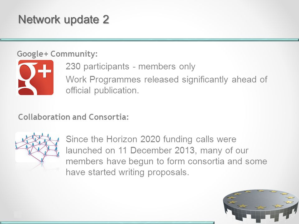 Network update 2 230 participants - members only Work Programmes released significantly ahead of official publication.