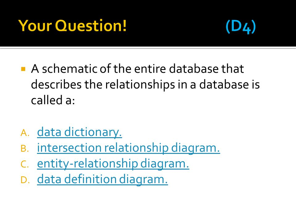  A schematic of the entire database that describes the relationships in a database is called a: A. data dictionary. data dictionary. B. intersection