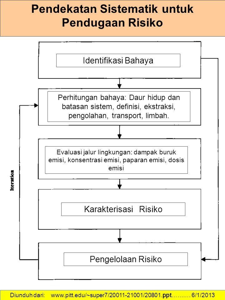 Diunduh dari: www.pitt.edu/~super7/20011-21001/20801.ppt………. 6/1/2013 Pendekatan Sistematik untuk Pendugaan Risiko Pengelolaan Risiko Karakterisasi Ri