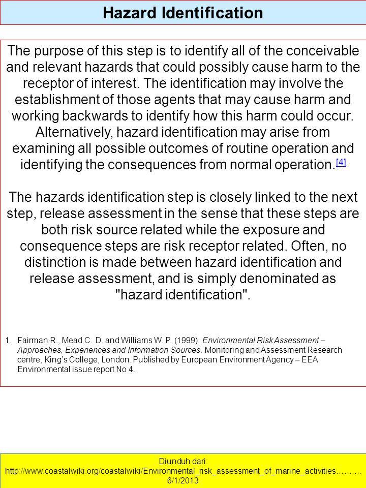 Diunduh dari: http://www.coastalwiki.org/coastalwiki/Environmental_risk_assessment_of_marine_activities………. 6/1/2013 Hazard Identification The purpose