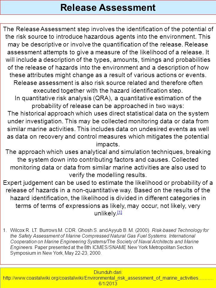 Diunduh dari: http://www.coastalwiki.org/coastalwiki/Environmental_risk_assessment_of_marine_activities………. 6/1/2013 Release Assessment The Release As