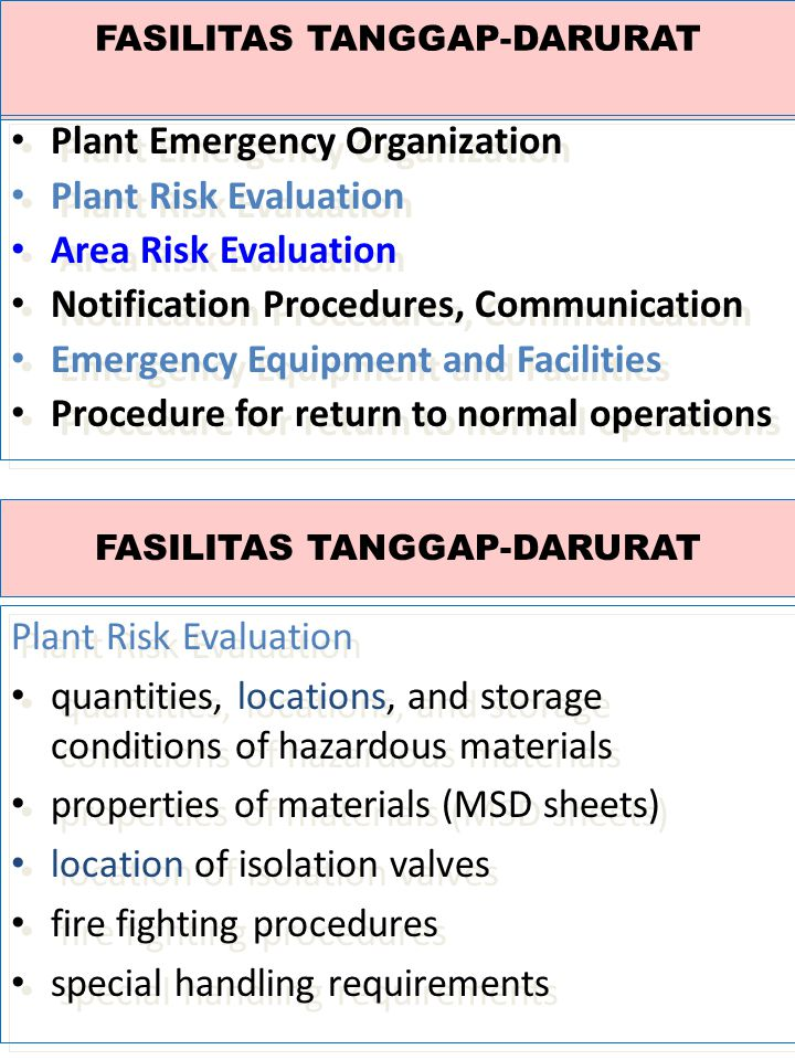 Plant risk evaluation Site data base includes basic administrative, technical, regulatory and safety relevant information: hazardous chemicals safety response plans and equipment Site data base includes basic administrative, technical, regulatory and safety relevant information: hazardous chemicals safety response plans and equipment Plant risk evaluation Hazardous chemicals data base includes substance identification data (names, synonyms, CAS, UN number), physical, chemical, and toxicological properties, associates production processes and waste streams.