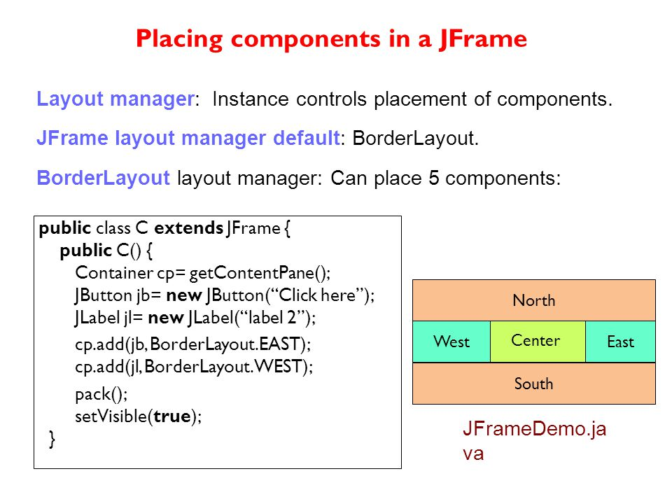 public class C extends JFrame { public C() { Container cp= getContentPane(); JButton jb= new JButton( Click here ); JLabel jl= new JLabel( label 2 ); cp.add(jb, BorderLayout.EAST); cp.add(jl, BorderLayout.WEST); pack(); setVisible(true); } Layout manager: Instance controls placement of components.
