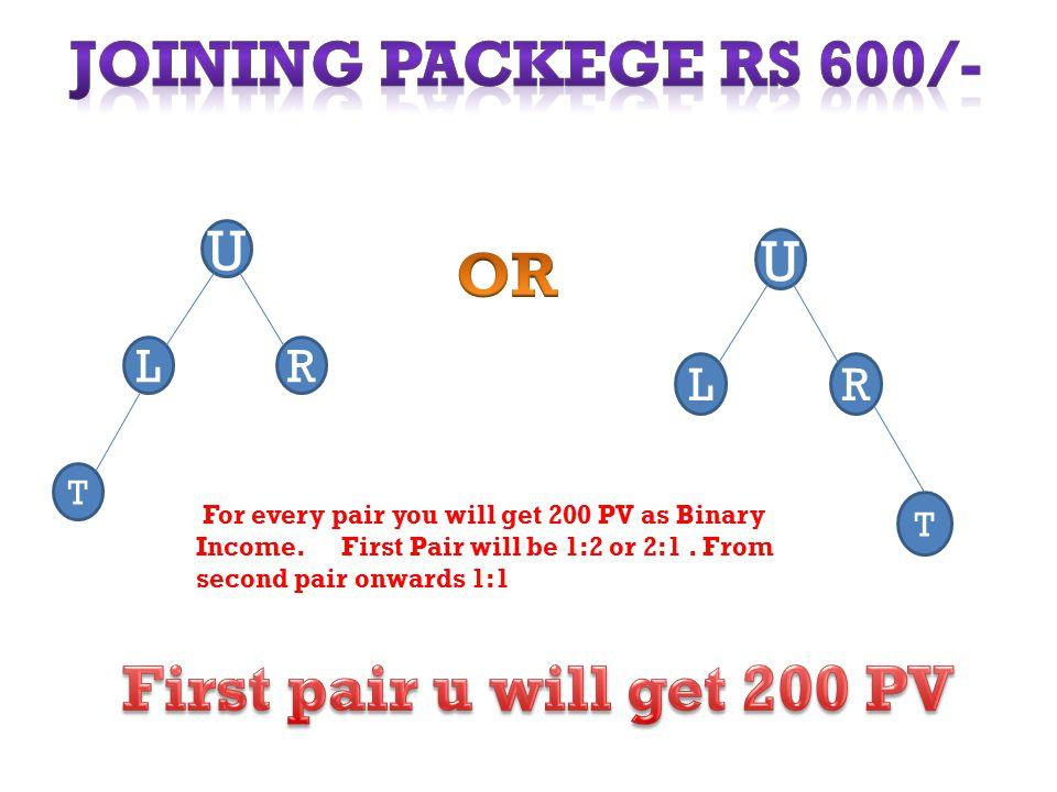 LR U T LR U T For every pair you will get 200 PV as Binary Income.
