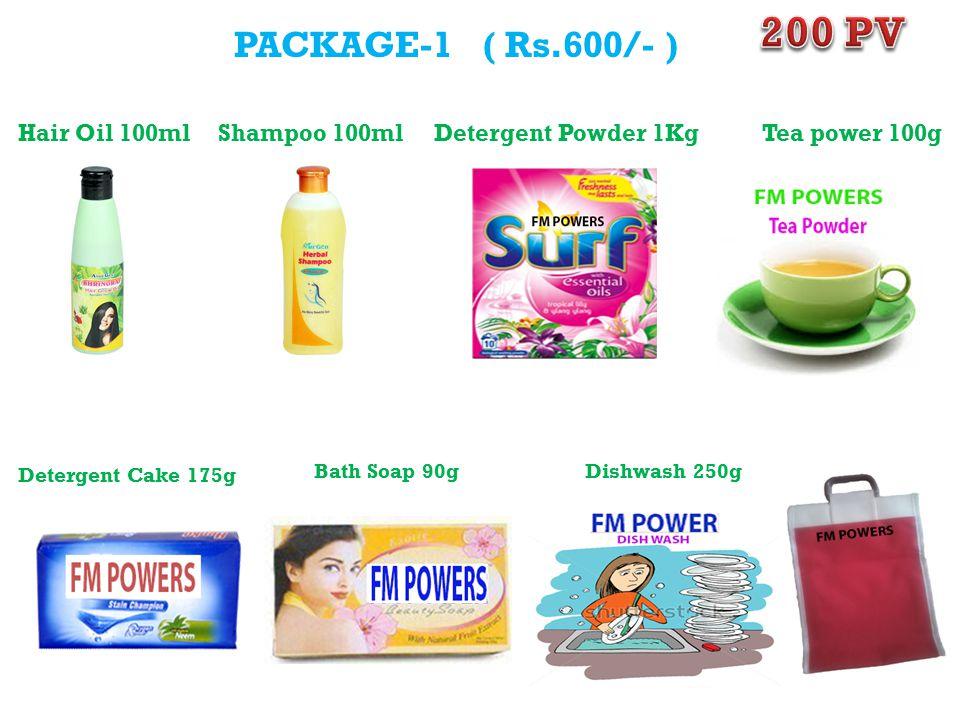 PACKAGE-1 ( Rs.600/- ) Hair Oil 100mlShampoo 100mlDetergent Powder 1Kg Detergent Cake 175g Bath Soap 90gDishwash 250g Tea power 100g