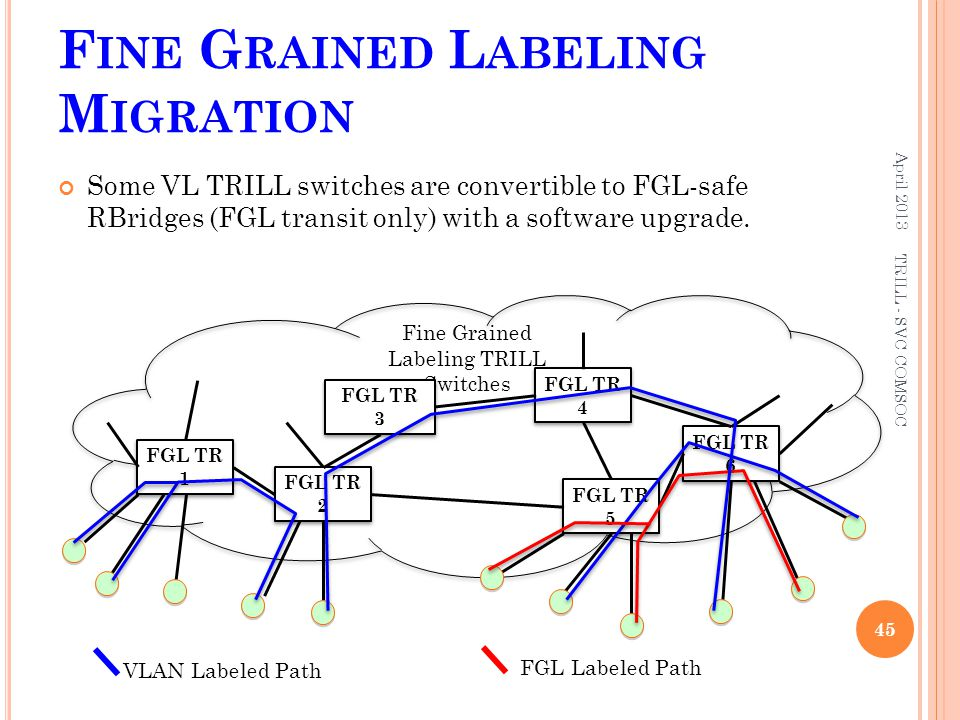 F INE G RAINED L ABELING M IGRATION Some VL TRILL switches are convertible to FGL-safe RBridges (FGL transit only) with a software upgrade. April 2013