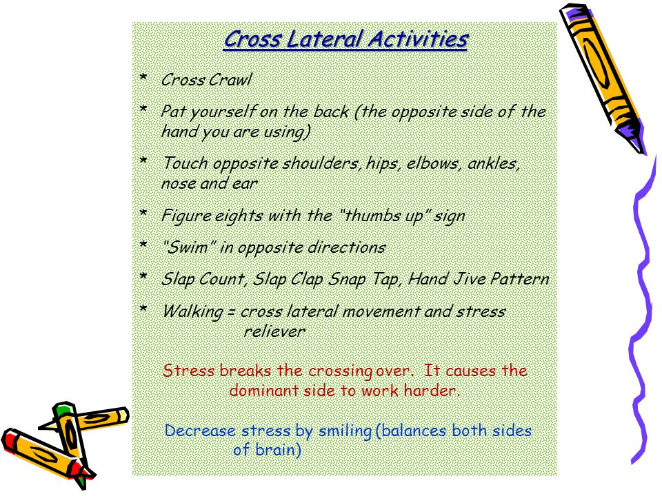 Cross Lateral Activities *Cross Crawl *Pat yourself on the back (the opposite side of the hand you are using) *Touch opposite shoulders, hips, elbows, ankles, nose and ear *Figure eights with the thumbs up sign * Swim in opposite directions *Slap Count, Slap Clap Snap Tap, Hand Jive Pattern *Walking = cross lateral movement and stress reliever Stress breaks the crossing over.