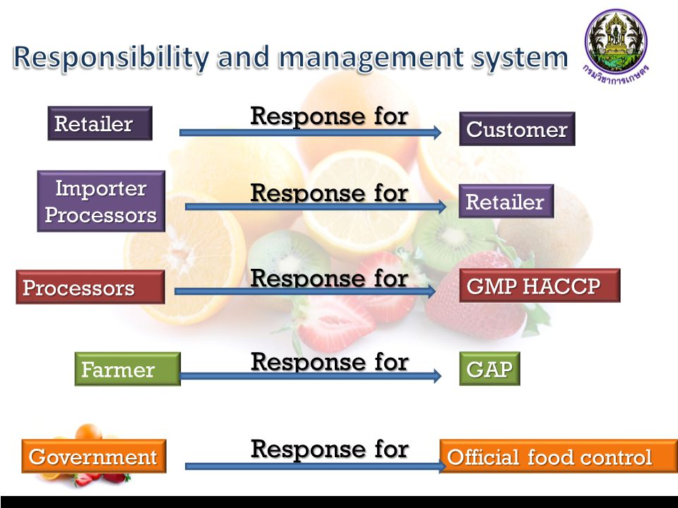 RetailerRetailer Response for CustomerCustomer ImporterProcessorsImporterProcessors Retailer Response for ProcessorsProcessors GMP HACCP Farmer GAPGAP GovernmentGovernment Official food control Response for
