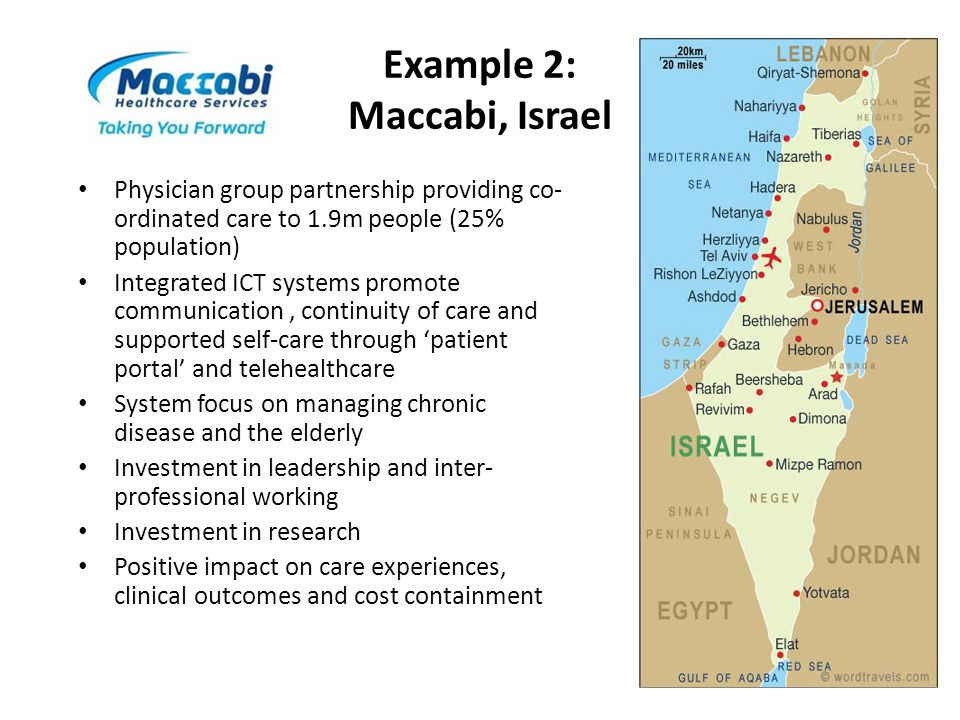 Example 2: Maccabi, Israel Physician group partnership providing co- ordinated care to 1.9m people (25% population) Integrated ICT systems promote com