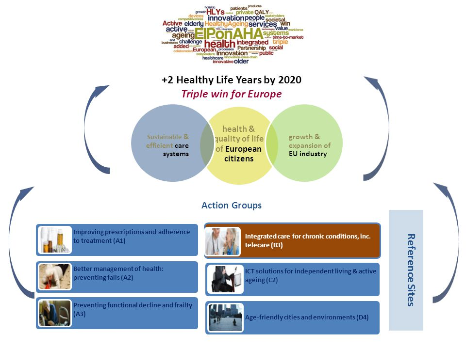 health & quality of life of European citizens growth & expansion of EU industry Sustainable & efficient care systems +2 Healthy Life Years by 2020 Tri