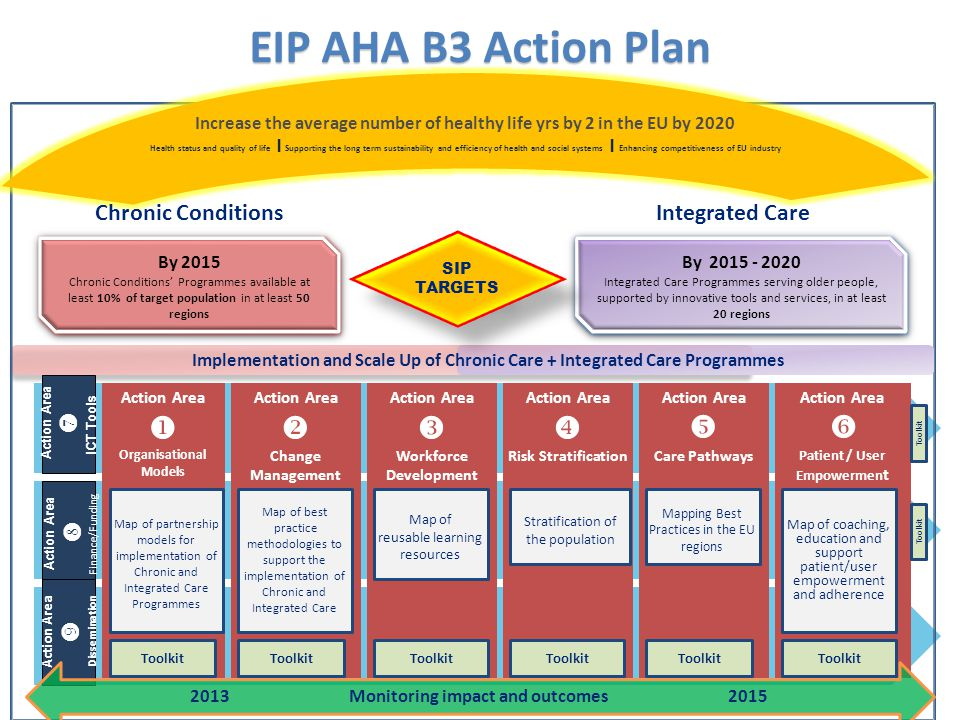 Action Area  Change Management Action Area  Workforce Development Action Area  Risk Stratification Action Area  Care Pathways Action Area  Patient / User Empowermen t Action Area  Organisational Models Action Area  Finance/Funding Action Area  Dissemination Action Area  ICT Tools EIP AHA B3 Action Plan By 2015 Chronic Conditions' Programmes available at least 10% of target population in at least 50 regions By 2015 Chronic Conditions' Programmes available at least 10% of target population in at least 50 regions By 2015 - 2020 Integrated Care Programmes serving older people, supported by innovative tools and services, in at least 20 regions By 2015 - 2020 Integrated Care Programmes serving older people, supported by innovative tools and services, in at least 20 regions SIP TARGETS 2013 Monitoring impact and outcomes 2015 Toolkit Increase the average number of healthy life yrs by 2 in the EU by 2020 Health status and quality of life । Supporting the long term sustainability and efficiency of health and social systems । Enhancing competitiveness of EU industry Chronic ConditionsIntegrated Care Implementation and Scale Up of Chronic Care + Integrated Care Programmes Map of partnership models for implementation of Chronic and Integrated Care Programmes Map of best practice methodologies to support the implementation of Chronic and Integrated Care Map of reusable learning resources Stratification of the population Mapping Best Practices in the EU regions Map of coaching, education and support patient/user empowerment and adherence