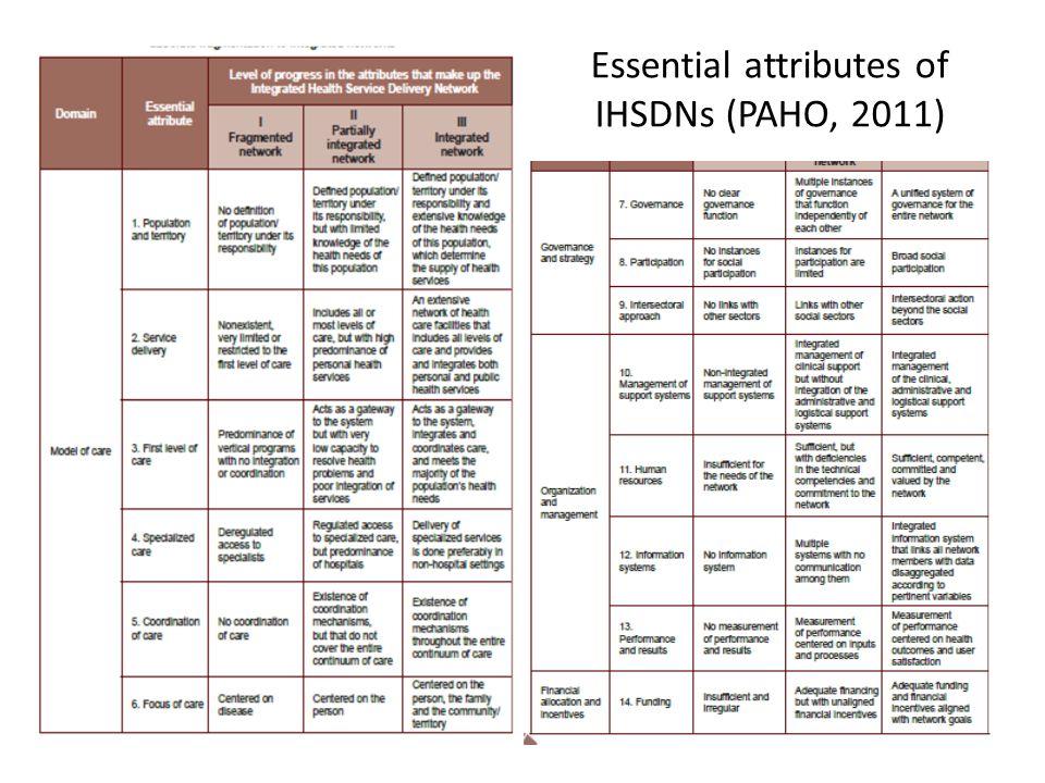 Essential attributes of IHSDNs (PAHO, 2011)