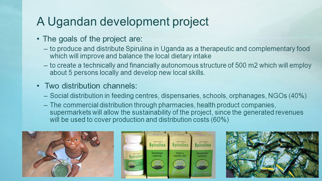 A Ugandan development project The goals of the project are: –to produce and distribute Spirulina in Uganda as a therapeutic and complementary food which will improve and balance the local dietary intake –to create a technically and financially autonomous structure of 500 m2 which will employ about 5 persons locally and develop new local skills.