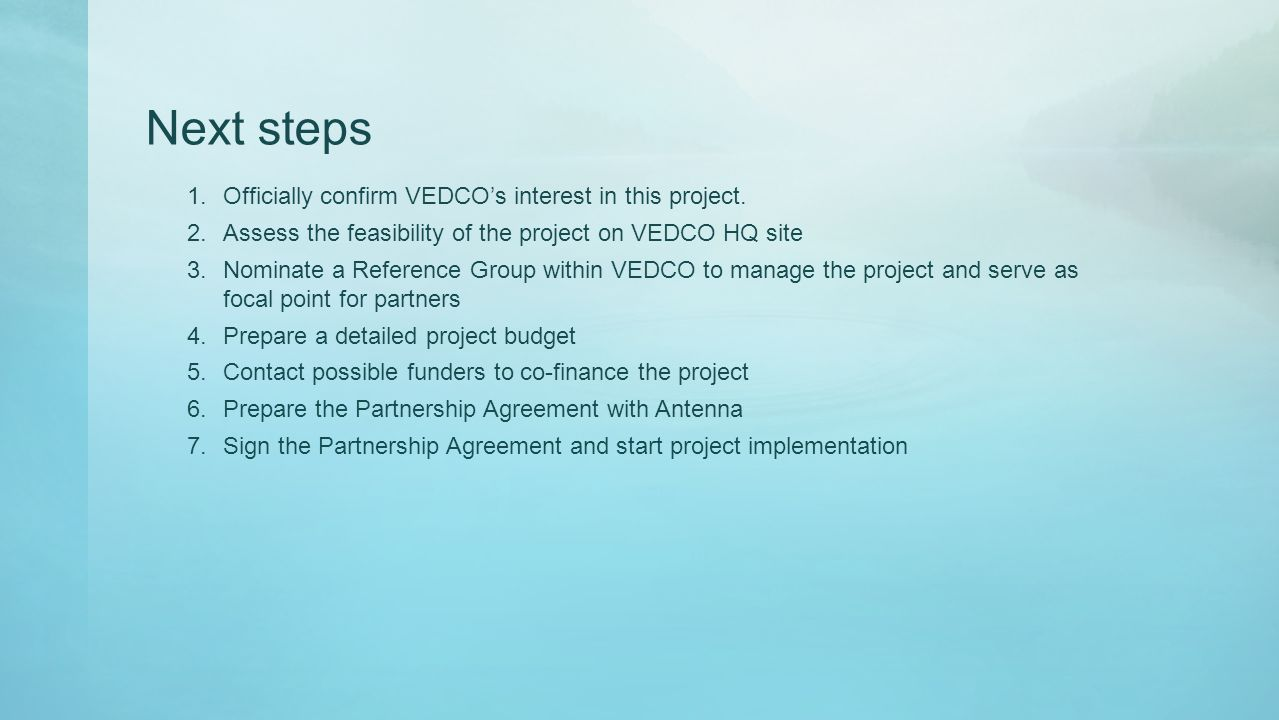 Next steps 1.Officially confirm VEDCO's interest in this project.